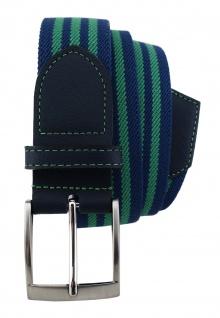 TigerTie - Stretchgürtel grün blau dunkelblau gestreift - Bundweite 100 cm - Vorschau 2