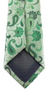 schmale TigerTie Designer Krawatte in grün grasgrün anthrazit Paisley gemustert - Vorschau 4