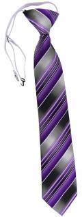 TigerTie Security Sicherheits Krawatte lila flieder anthrazit grau gestreift
