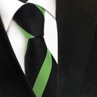 TigerTie Designer Seidenkrawatte grün maigrün schwarz gestreift - Krawatte Seide