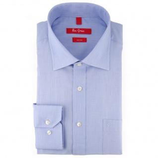Ben Green Herrenhemd hellblau Uni langarm bügelfrei - New-Kent-Kragen Hemd Gr.47