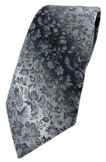 TigerTie Designer Krawatte in grau anthrazit grausilber geblümt gemustert