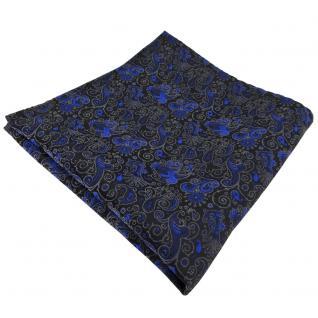 TigerTie Einstecktuch in blau anthrazit schwarz gemustert Ornamente - Tuch Seide
