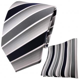 TigerTie Krawatte + Einstecktuch in blau dunkelblau grau weiß gestreift