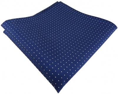 TigerTie Designer Seideneinstecktuch in blau saphirblau silber gepunktet