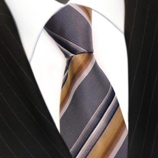 Krawatte Seide Designer Seidenkrawatte braun schwarz silber gestreift