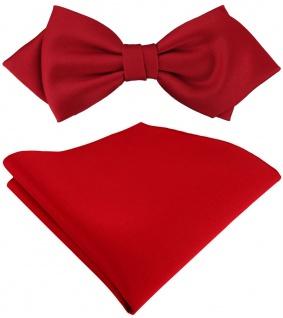 vorgebundene TigerTie Spitzfliege + Einstecktuch in rot Uni einfarbig + Box