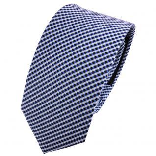 schmale TigerTie Seidenkrawatte blau silber gepunktet - Krawatte Seide Tie - Vorschau 1