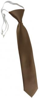 TigerTie Kinderkrawatte in goldbraun Uni - Krawatte vorgebunden mit Gummizug