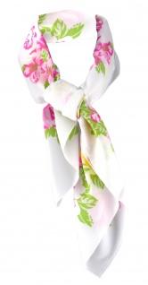 feines Damen Chiffon Halstuch rosa pink weiss grün geblümt - Tuch 66 cm x 66 cm