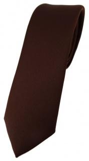 schmale TigerTie Designer Krawatte in dunkelbraun einfarbig Uni - Tie Schlips