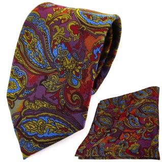 TigerTie Designer Krawatte + Einstecktuch lila gold rot orange blau Paisley