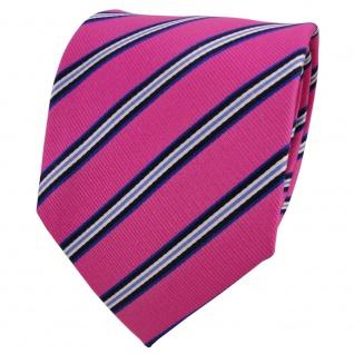 TigerTie Designer Seidenkrawatte pink telemagenta blau schwarz creme gestreift