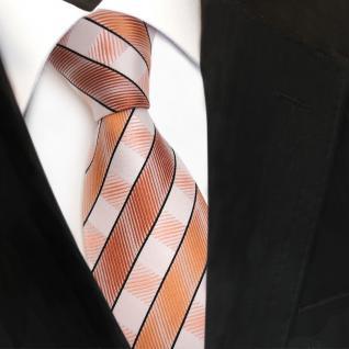 TigerTie Seidenkrawatte orange lachs hautfarben weiß gestreift - Krawatte Seide - Vorschau 3
