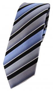 schmale TigerTie Designer Seidenkrawatte in grau blau schwarz silber gestreift
