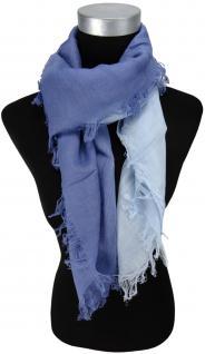 Halstuch in blau hellblau einfarbig Farbverlauf mit Fransen - Gr. 100 x 100 cm