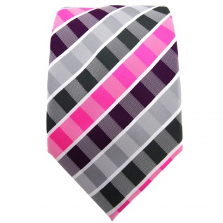 TigerTie Krawatte lila violett pink grau anthrazit weiß gestreift - Binder Tie - Vorschau 2