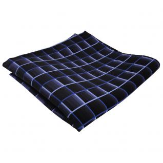 Designer Seideneinstecktuch blau dunkelblau marine kariert - Tuch Seide Silk
