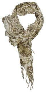 TigerTie Halstuch in braunolive beige gemustert mit Fransen - Gr. 90 cm x 90 cm
