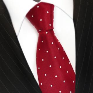 TigerTie Designer Seidenkrawatte rot karminrot weiss gepunktet - Krawatte Seide - Vorschau 3