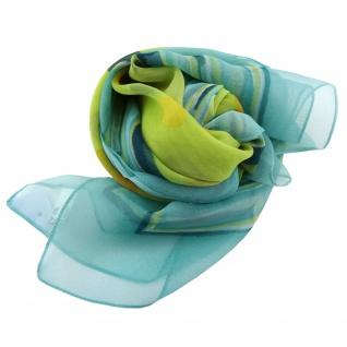 Damen Satin Halstuch türkis grün gelb gepunktet 90 x 90 - Tuch Nickituch Schal