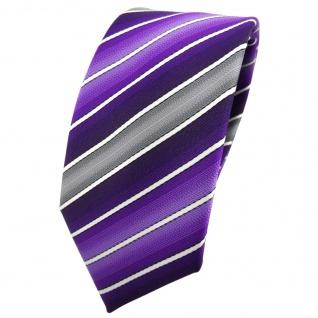 Schmale TigerTie Krawatte lila dunkellila grau creme gestreift - Tie Binder