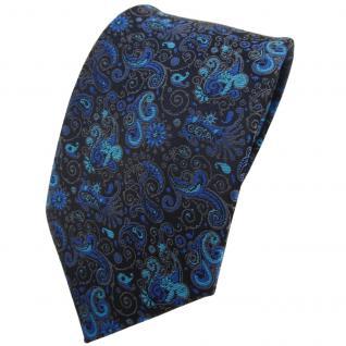 TigerTie Krawatte türkis ozeanblau schwarz grau gemustert Paisley - Binder Tie