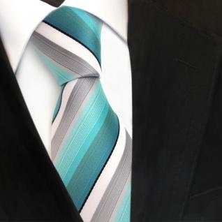 TigerTie Designer Krawatte türkis mint grau weiß schwarz gestreift - Tie Binder