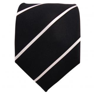 Designer Seidenkrawatte schwarz silber gestreift - Krawatte Seide Silk - Vorschau 2