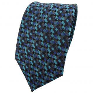 TigerTie Krawatte türkis blau schwarz anthrazit grau gemustert - Binder Tie