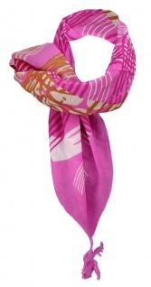 Halstuch pink rosa braun beige weinrot grau gemustert mit Tusseln an den Ecken