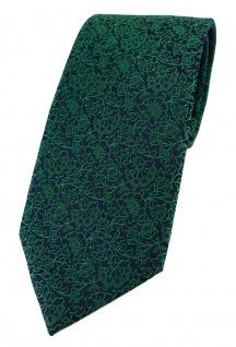TigerTie Designer Krawatte in grün schwarz florales Muster