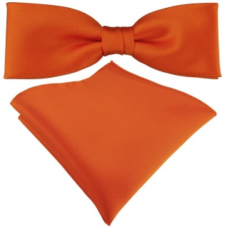 vorgebundete schmale TigerTie Satin Fliege + Einstecktuch in orange Uni + Box