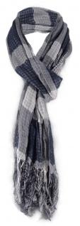 Schal in grau schwarz kariert mit Fransen - 180 cm x 50 cm - Tuch Baumwolle