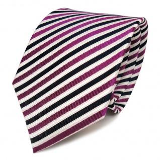 TigerTie Seidenkrawatte violett weiss blau dunkelblau gestreift - Krawatte Seide