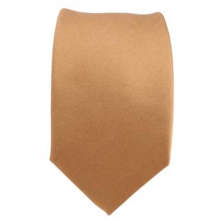 Schmale TigerTie Designer Satin Seidenkrawatte gold Uni - Krawatte Seide Silk - Vorschau 2
