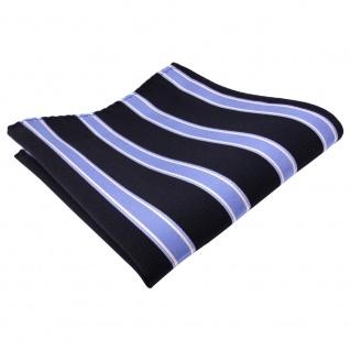 Designer Seideneinstecktuch blau dunkelblau silber gestreift - Tuch Seide Silk