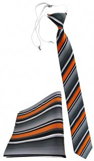 TigerTie Sicherheits Krawatte + Einstecktuch orange silber grau weiss gestreift