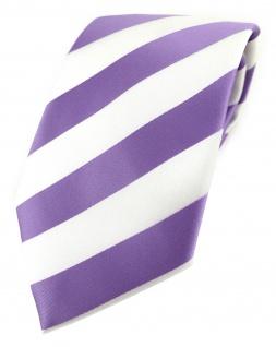 TigerTie Designer Krawatte in flieder weiss gestreift