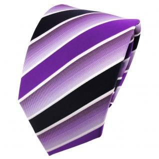 TigerTie Designer Krawatte lila violett dunkelblau weiß gestreift - Binder Tie