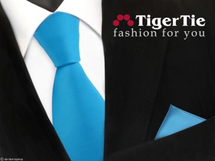 TigerTie Satin Krawatte + Einstecktuch blau türkis wasserblau Uni - Tie Binder