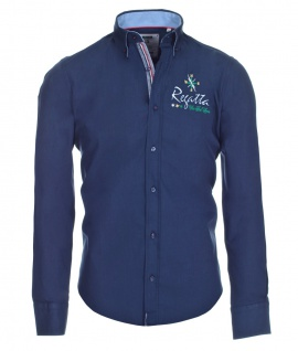 Pontto Designer Hemd Shirt in blau marine einfarbig langarm Modern-Fit Gr. XL