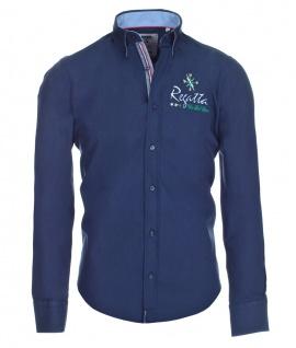 Pontto Designer Hemd Shirt in blau marine einfarbig langarm Modern-Fit Gr. XXL