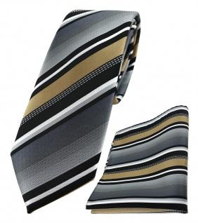 schmale TigerTie Krawatte + Einstecktuch in gold grau weiss schwarz gestreift - Vorschau 1