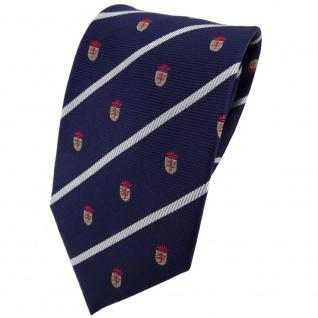 TigerTie Seidenkrawatte blau rot gold silber gestreift Wappen - Krawatte Seide