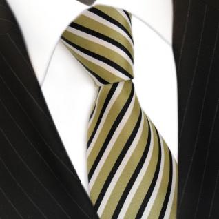 Designer Krawatte - Schlips Binder grün hellgrün schwarz weiss gestreift - Tie - Vorschau 3