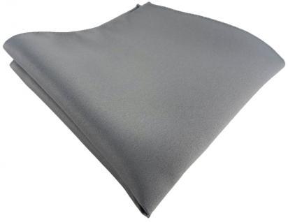 TigerTie Satin Einstecktuch in grau einfarbig Uni - Größe 26 x 26 cm