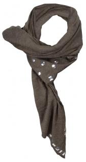 Dreieckstuch in braun einfarbig mit Nieten besetzt - Gr. 170 x 75 cm