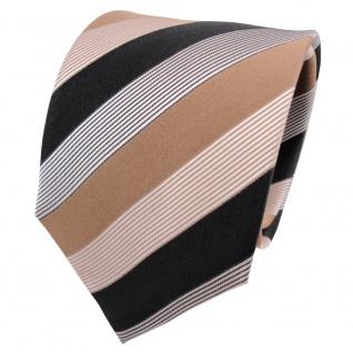 TigerTie Seidenkrawatte beige braun gold schwarz weiß gestreift - Krawatte Seide