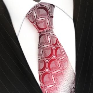 Seidenkrawatte rot weinrot weiss gestreift mit Muster - Krawatte 100% Seide Silk - Vorschau 1